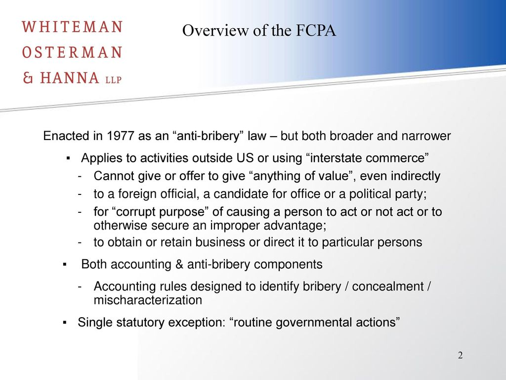 The U S Foreign Corrupt Practices Act Ppt Download