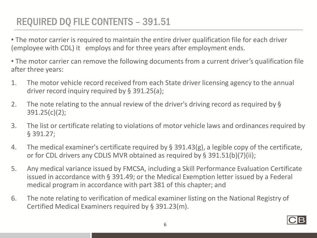 Current medical certificate for drivers 60