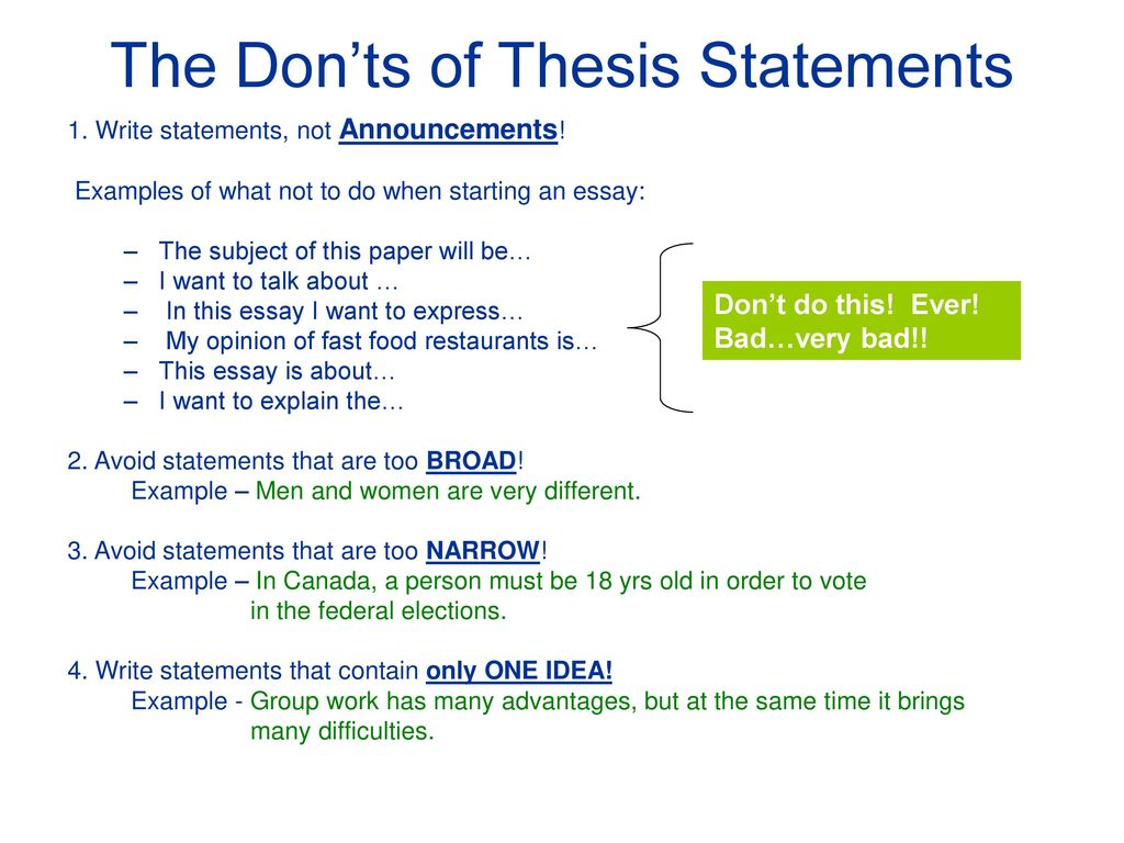 writing a good thesis statement   ppt download the donts of thesis statements
