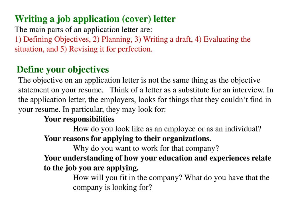 Writing A Job Application Cover Letter