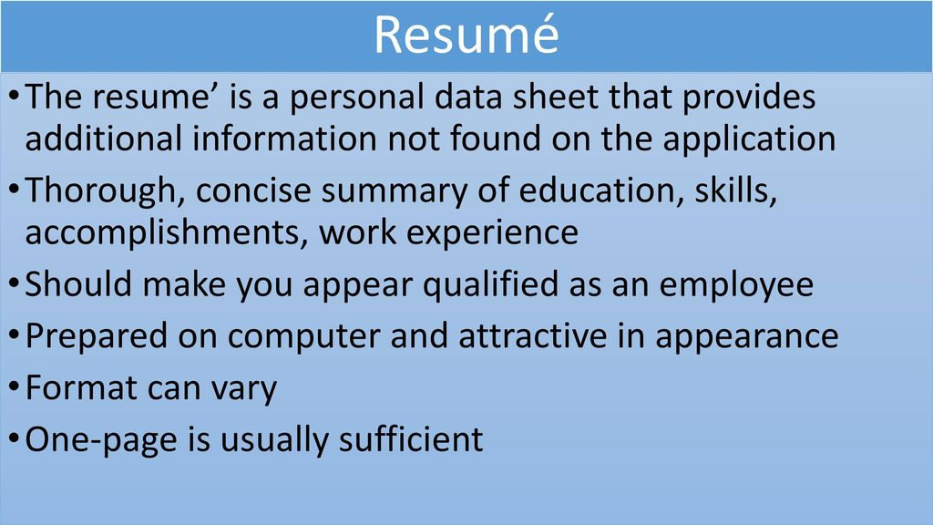 18:2 Writing a Cover Letter and Preparing a Resume\' - ppt download