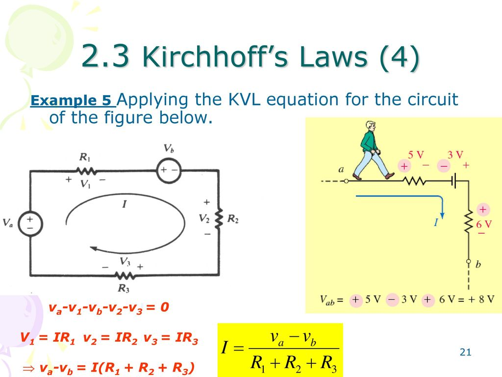 Fundamentals Of Electric Circuits Ppt Download In Series The Sum Voltages Is Equal To Applied Voltage 23 Kirchhoffs Laws 4 Example 5 Applying Kvl Equation For Circuit