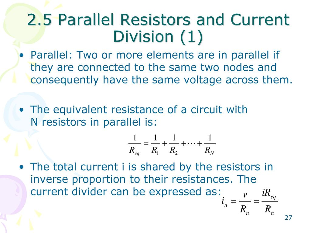 Fundamentals Of Electric Circuits Ppt Download In Series The Sum Voltages Is Equal To Applied Voltage 25 Parallel Resistors And Current Division 1