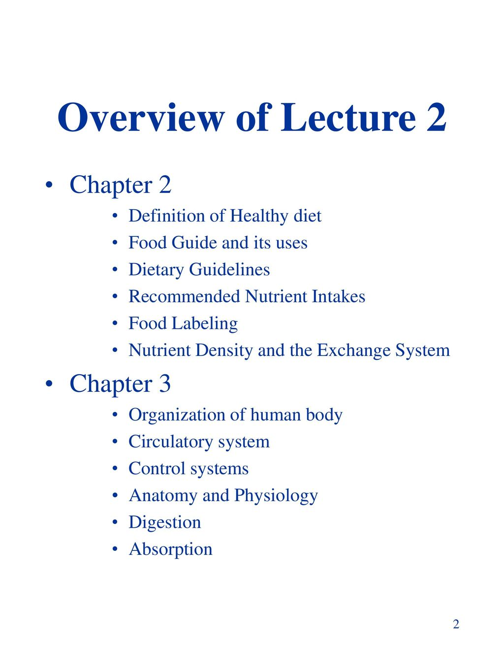 Chapter 2 Tools For Diet Design Chapter 3 Human Body Ppt Download