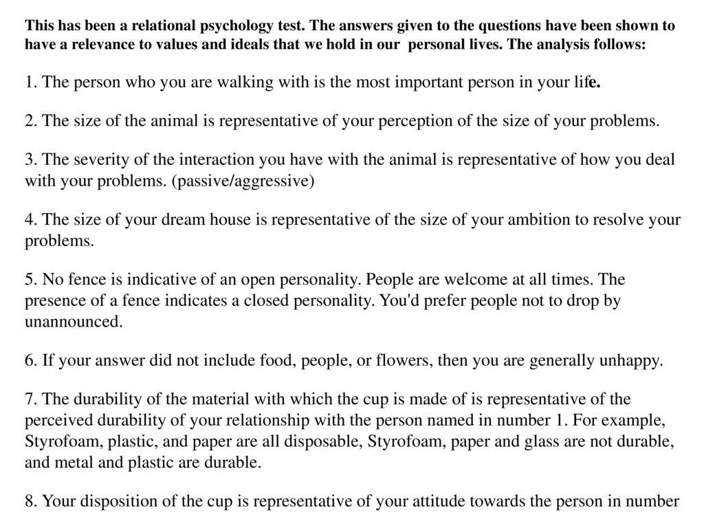 relational psychology test