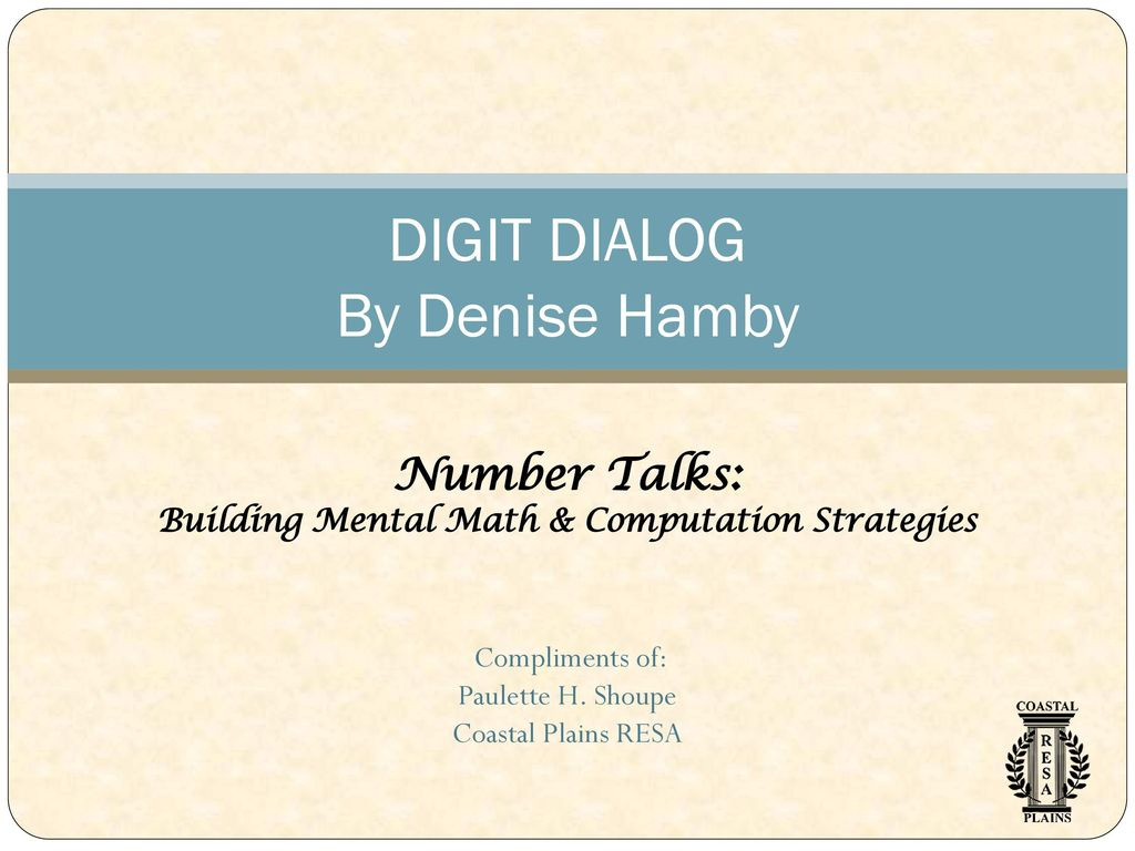 DIGIT DIALOG By Denise Hamby - ppt download