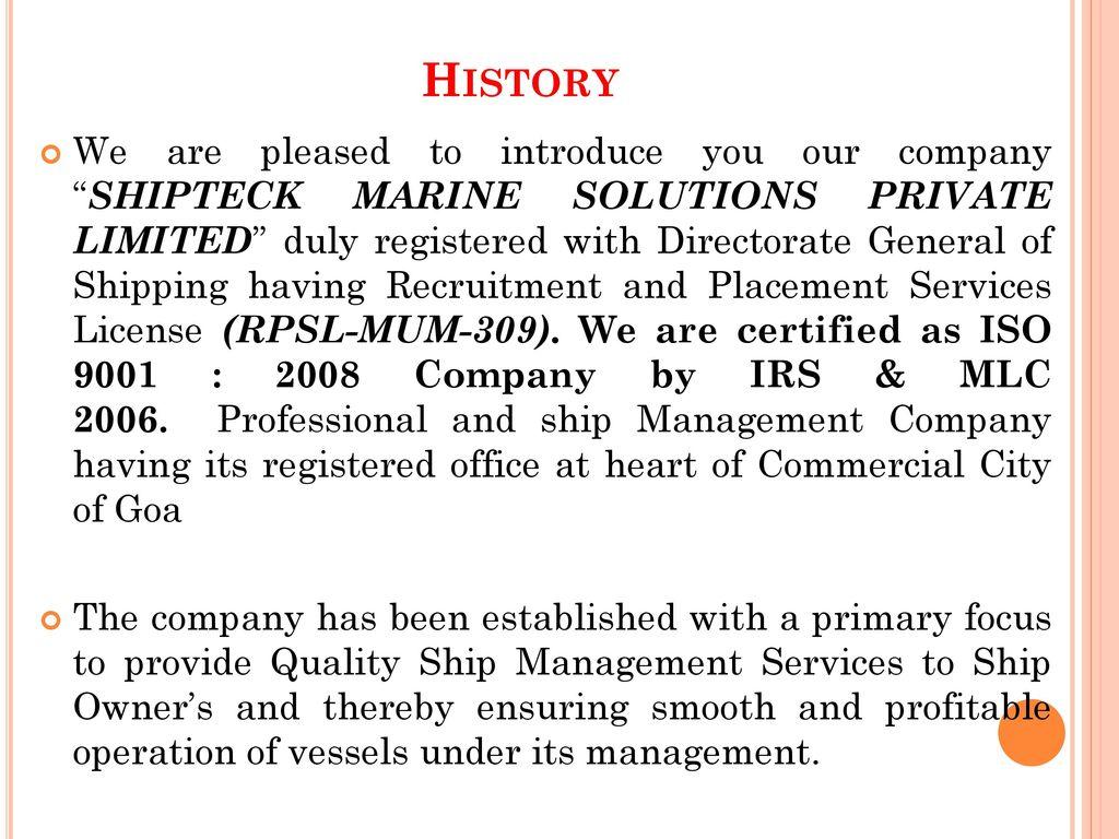 SHIPTECK MARINE SOLUTIONS PVT  LTD  - ppt download