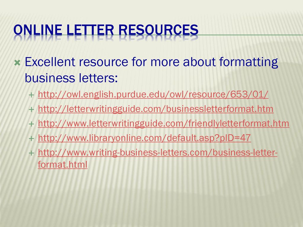 online letter resources