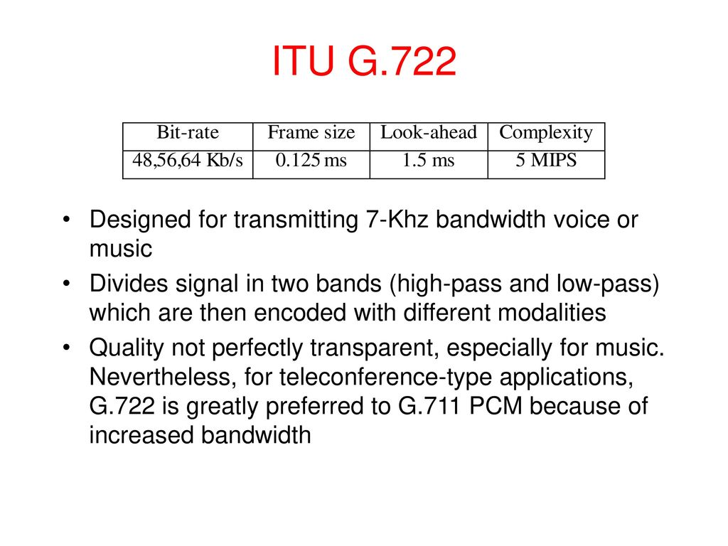 Audio Compression Ppt Download G 722 Block Diagram Itu G722 Designed For Transmitting 7 Khz Bandwidth Voice Or Music