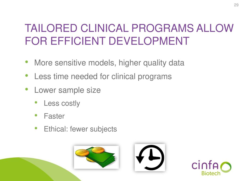 Tailored clinical programs allow for efficient development