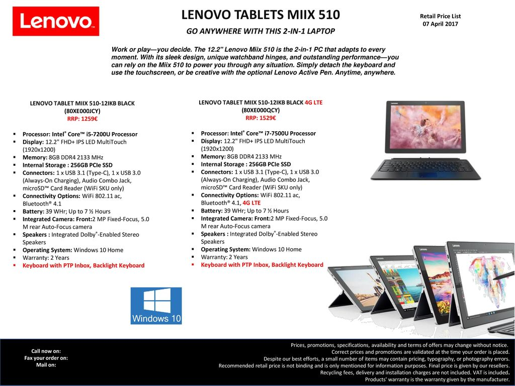 LENOVO TABLETS MIIX 510 GO ANYWHERE WITH THIS 2-IN-1 LAPTOP