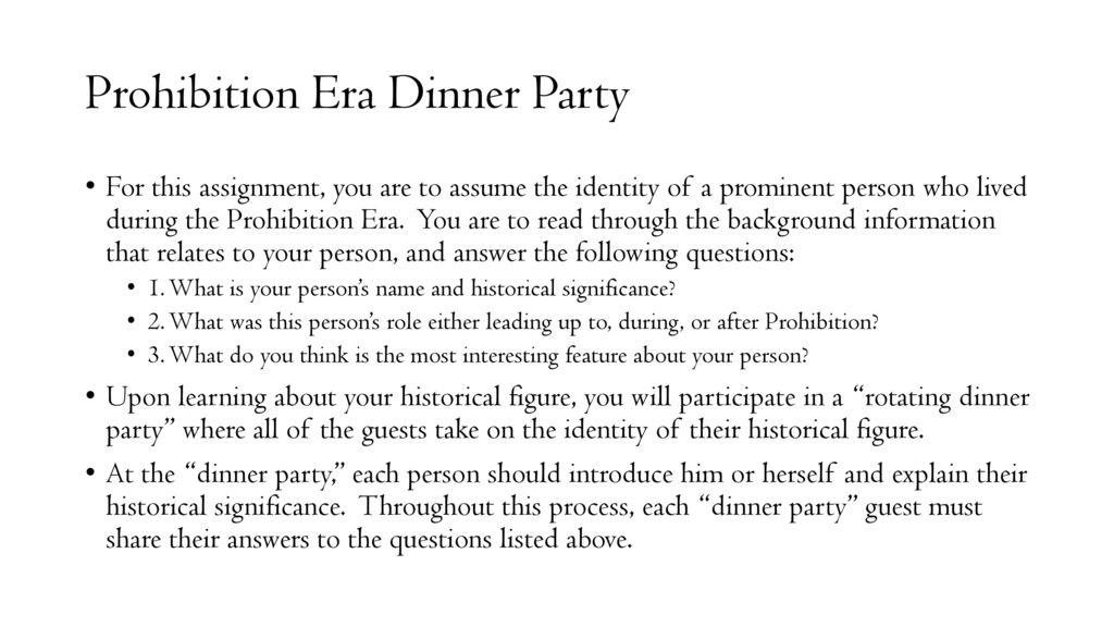 dinner party assignment