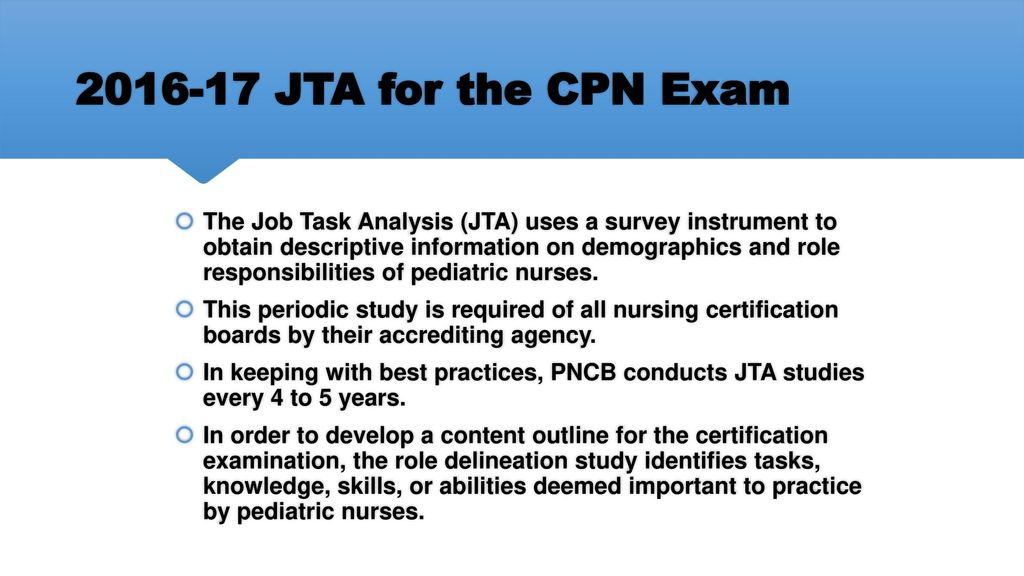 Job Task Analysis For The Certified Pediatric Nurse Cpn Exam