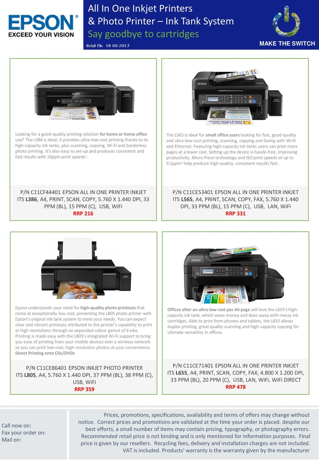 All In One Inkjet Printers & Photo Printer – Ink Tank System