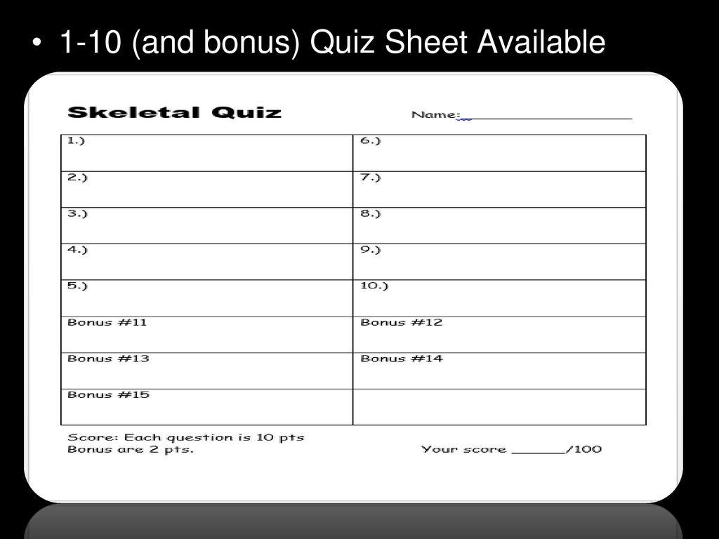 Skeletal System Quiz. - ppt download
