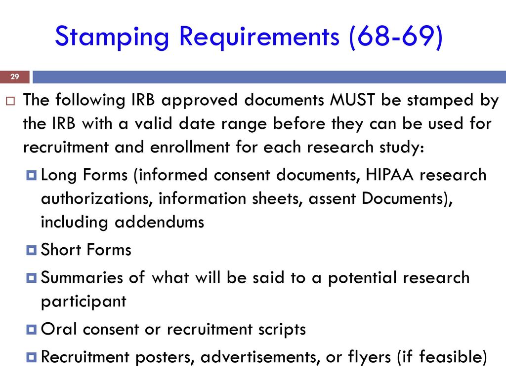 29 stamping requirements