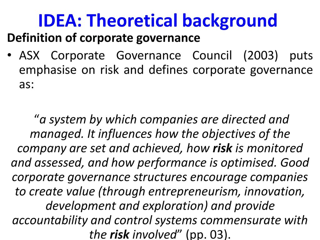 corporate governance and downside risk in australia - ppt download