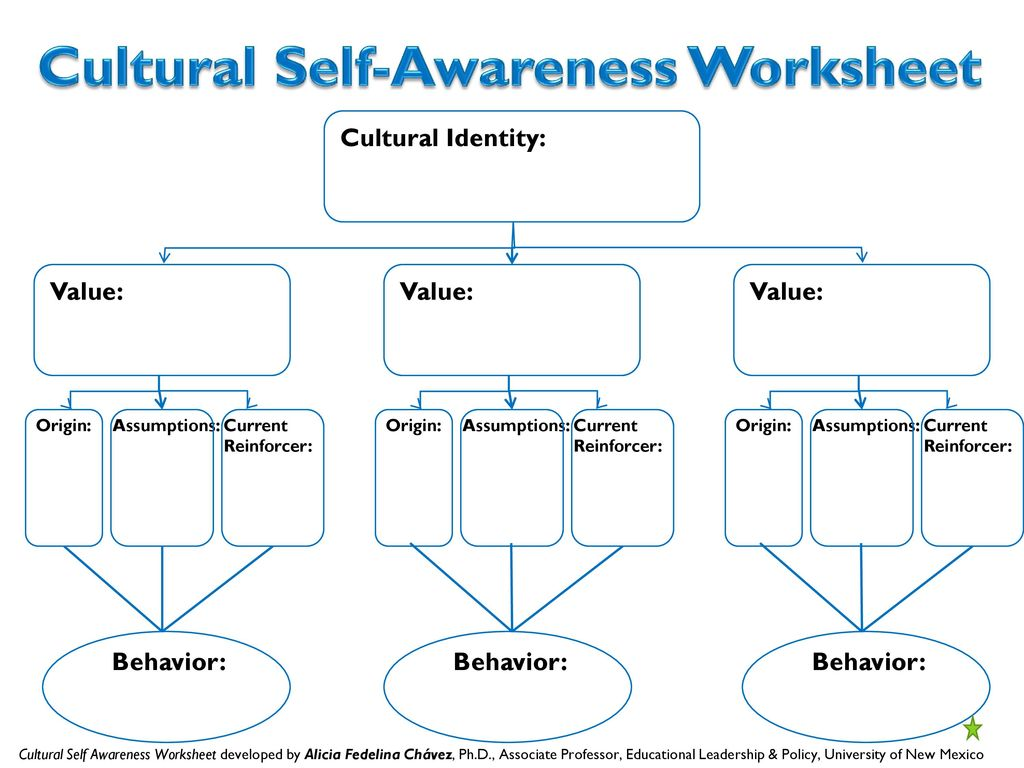 cultural self awareness Self-awareness--ie, knowing your personal characteristics and how your actions affect other people, business results, etc--is an essential first step toward maximizing your management skills self-awareness is the antidote to ceo disease key areas for self-awareness human beings are complex and diverse.