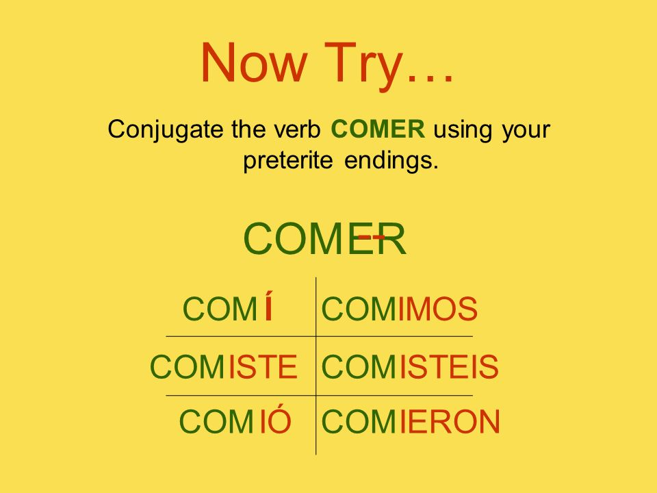 Conjugate the verb COMER using your preterite endings.