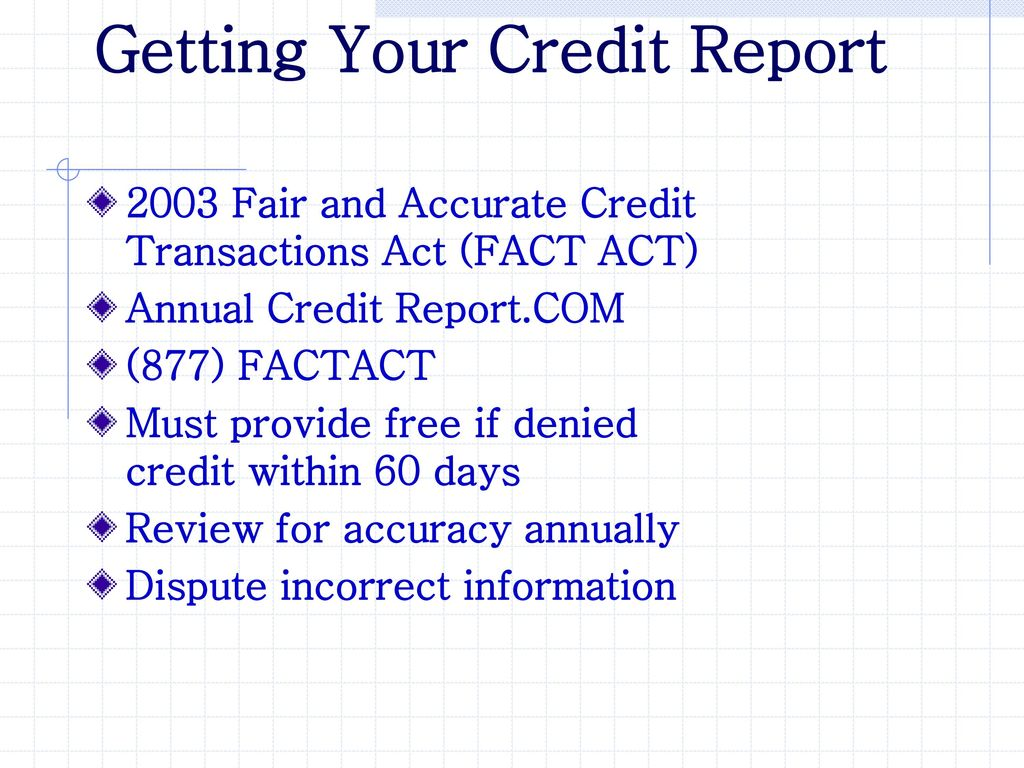 Getting Your Credit Report