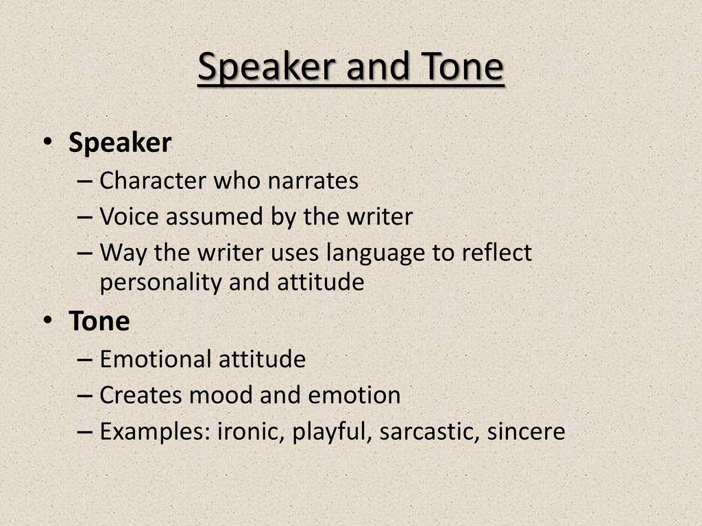 elements of poetry speaker
