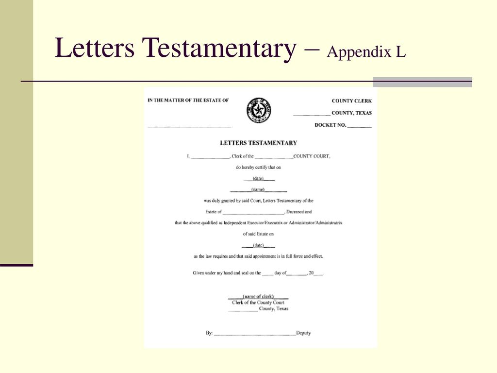 23 letters testamentary