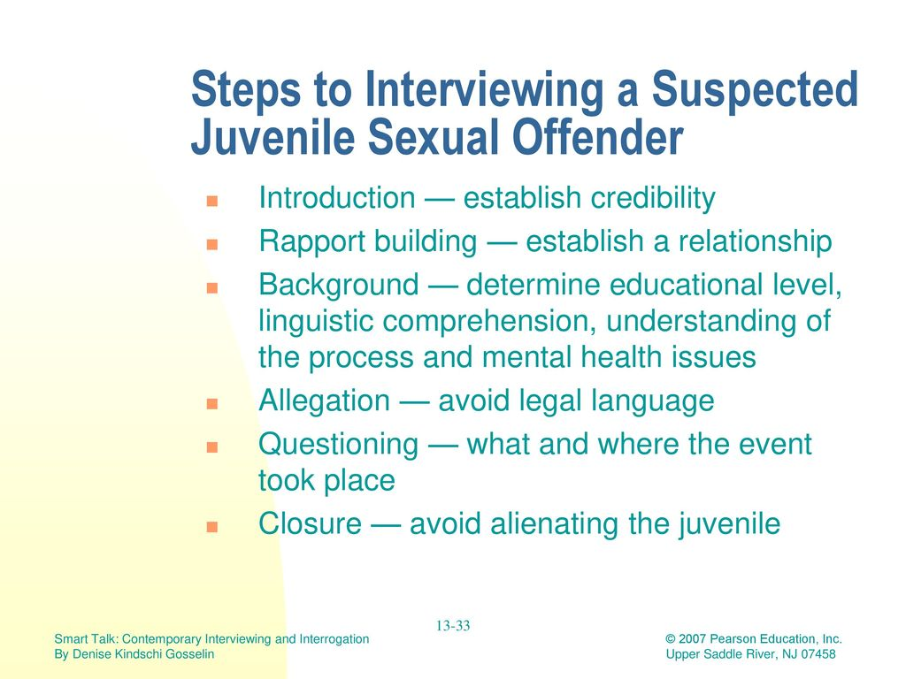 Power point slides on juvenile sex offenders