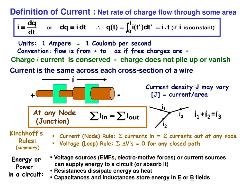 Electricity And Magnetism Lecture 07 Physics 121 Current Electric Circuits Resistors In Series Parallel Free Definition Of Net Rate Charge Flow Through Some Area