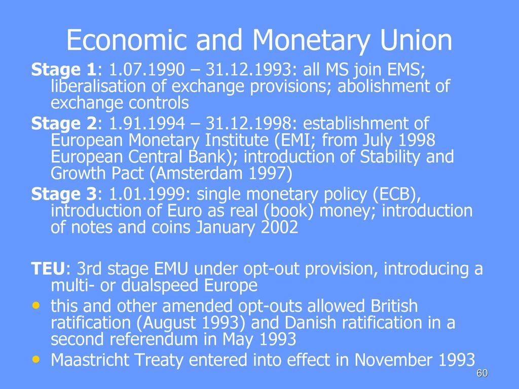 the european monetary union essay In contrast to the monetary union of the united states, the euro area was not linked to a fiscal union this means that the responsibility of financial regulations and.