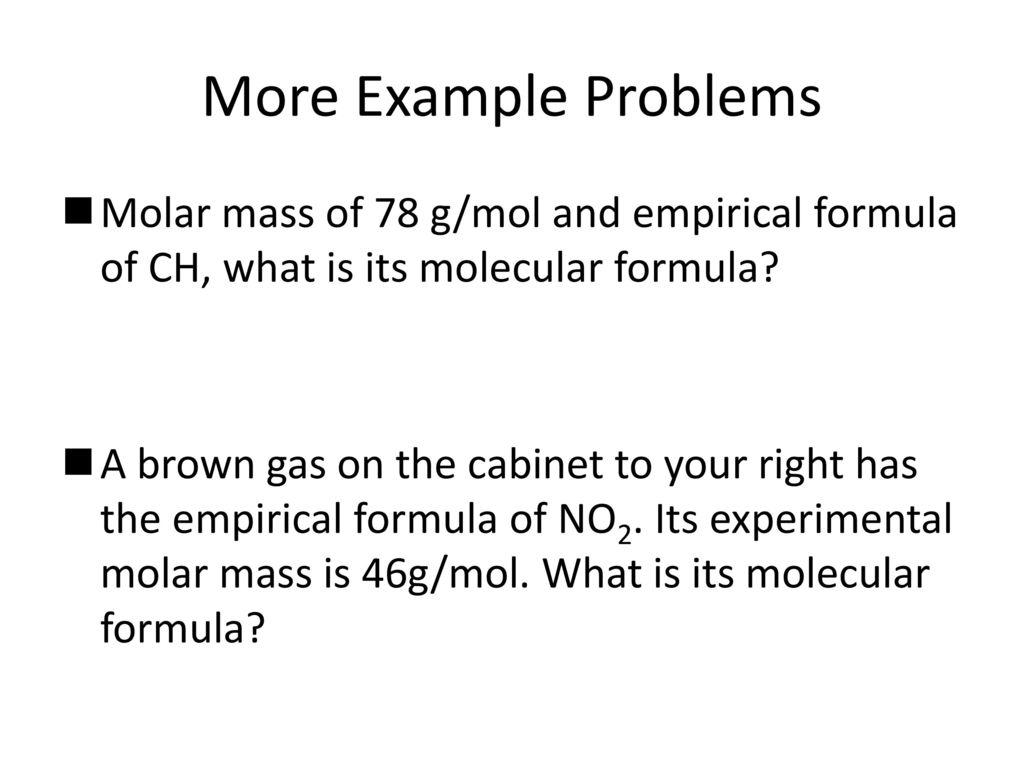 experimental molar mass