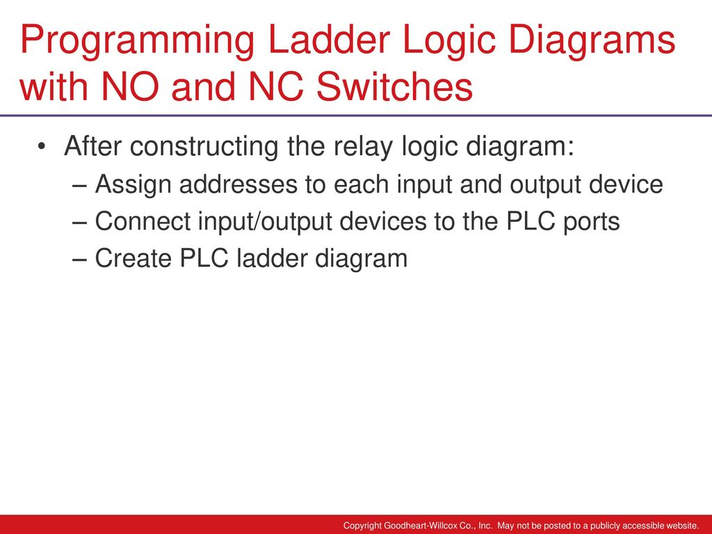 6 Chapter Plc Programming Ppt Download Logic Diagram Ladder Diagrams With No And Nc Switches