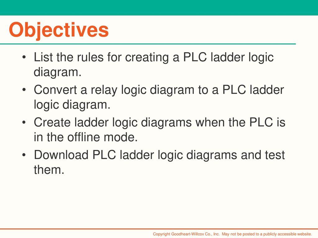 6 Chapter Plc Programming Ppt Download Ladder Logic Diagram Images Objectives List The Rules For Creating A