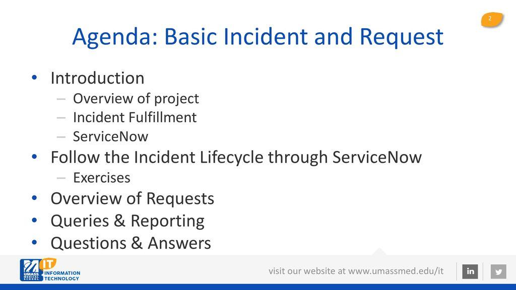 agenda basic incident and request