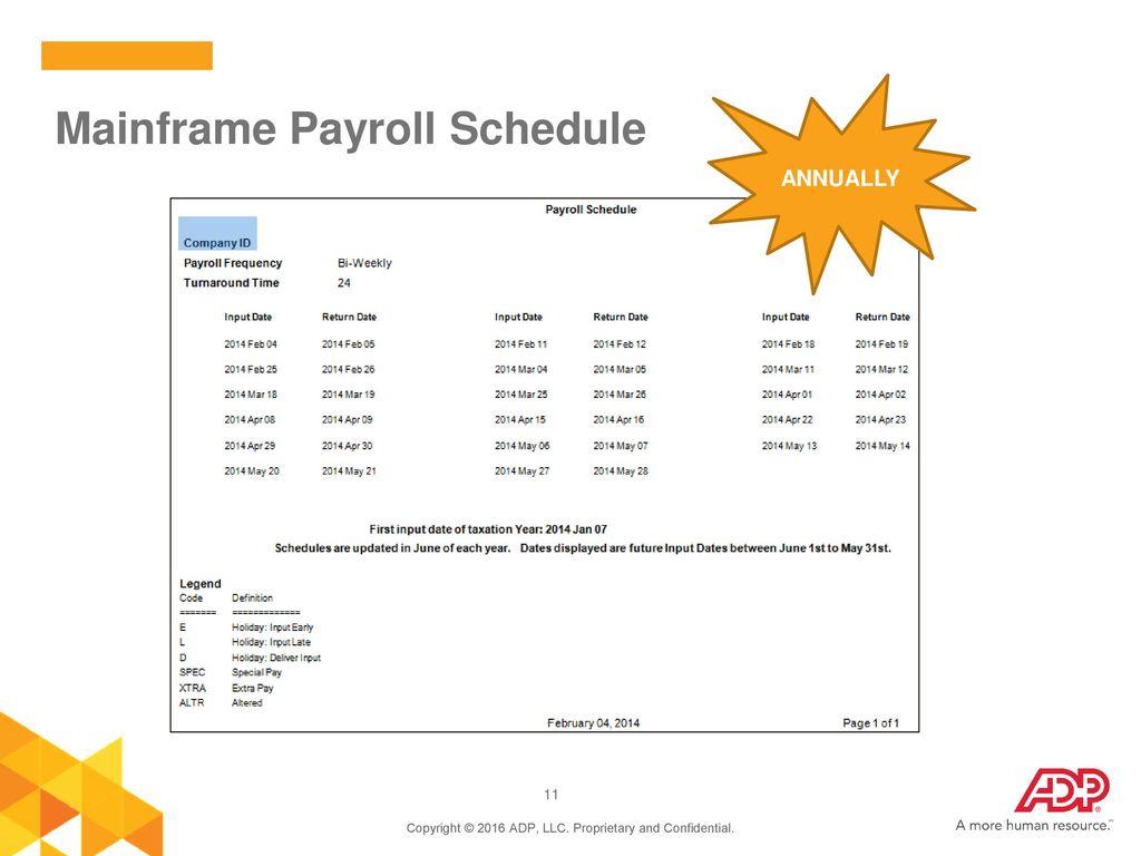 Mainframe Payroll Schedule