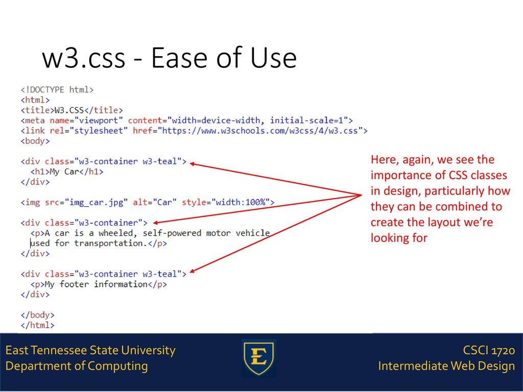 CSCI 1720 W3 CSS – Part 1 East Tennessee State University