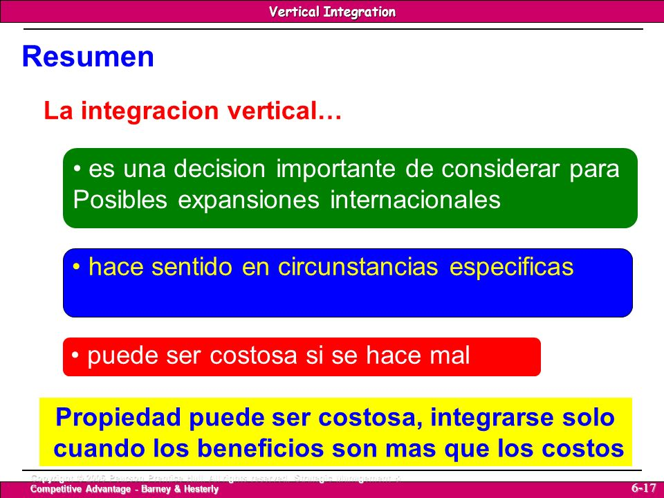 Resumen La integracion vertical…