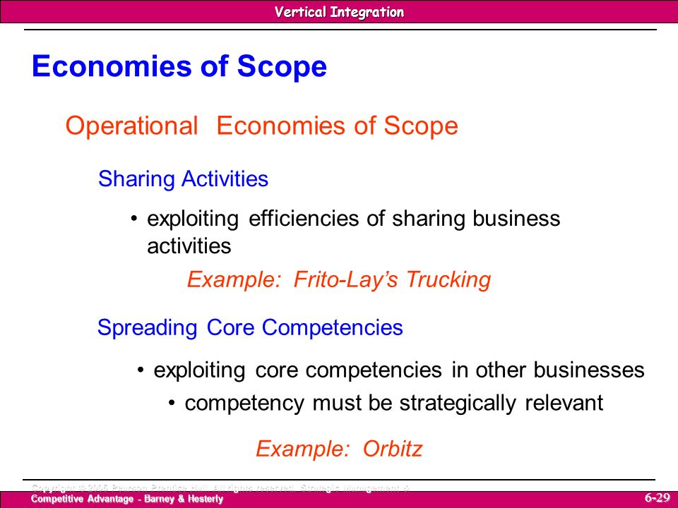 Economies of Scope Operational Economies of Scope Sharing Activities