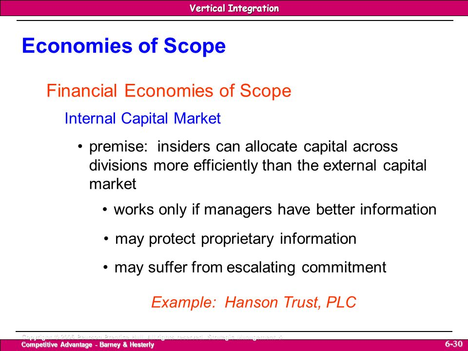 Economies of Scope Financial Economies of Scope
