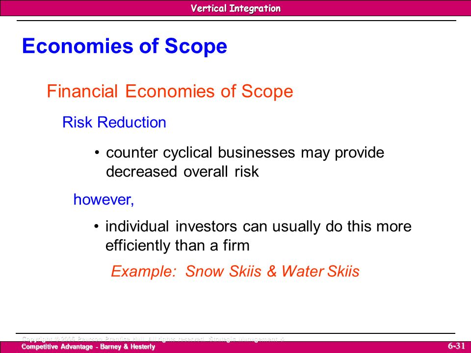 Economies of Scope Financial Economies of Scope Risk Reduction