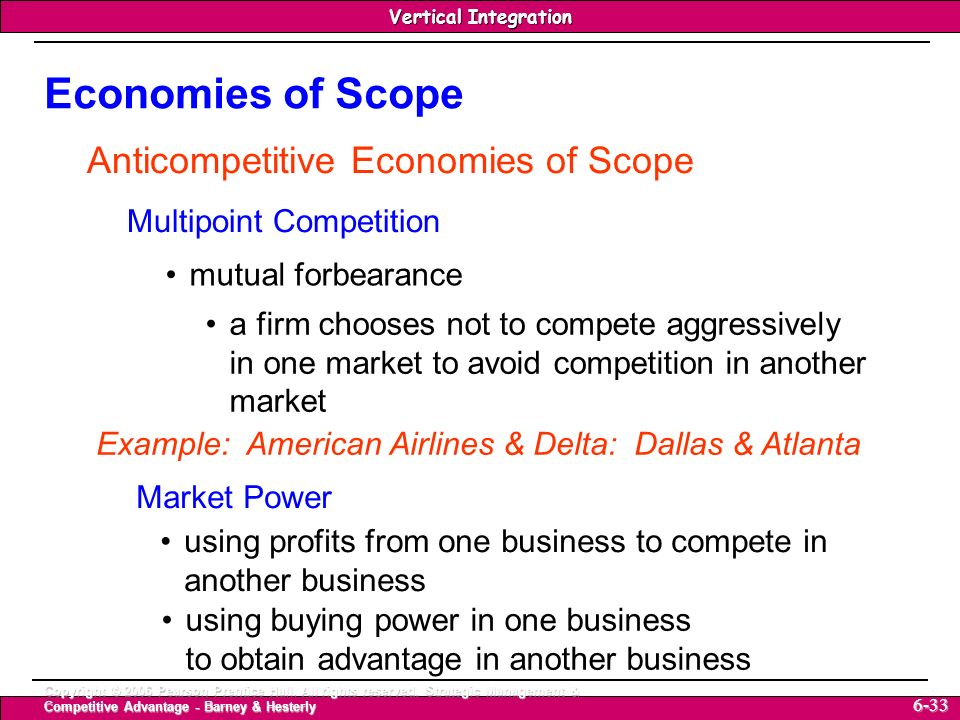 Economies of Scope Anticompetitive Economies of Scope