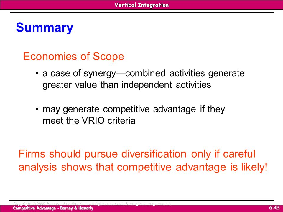 Summary Economies of Scope