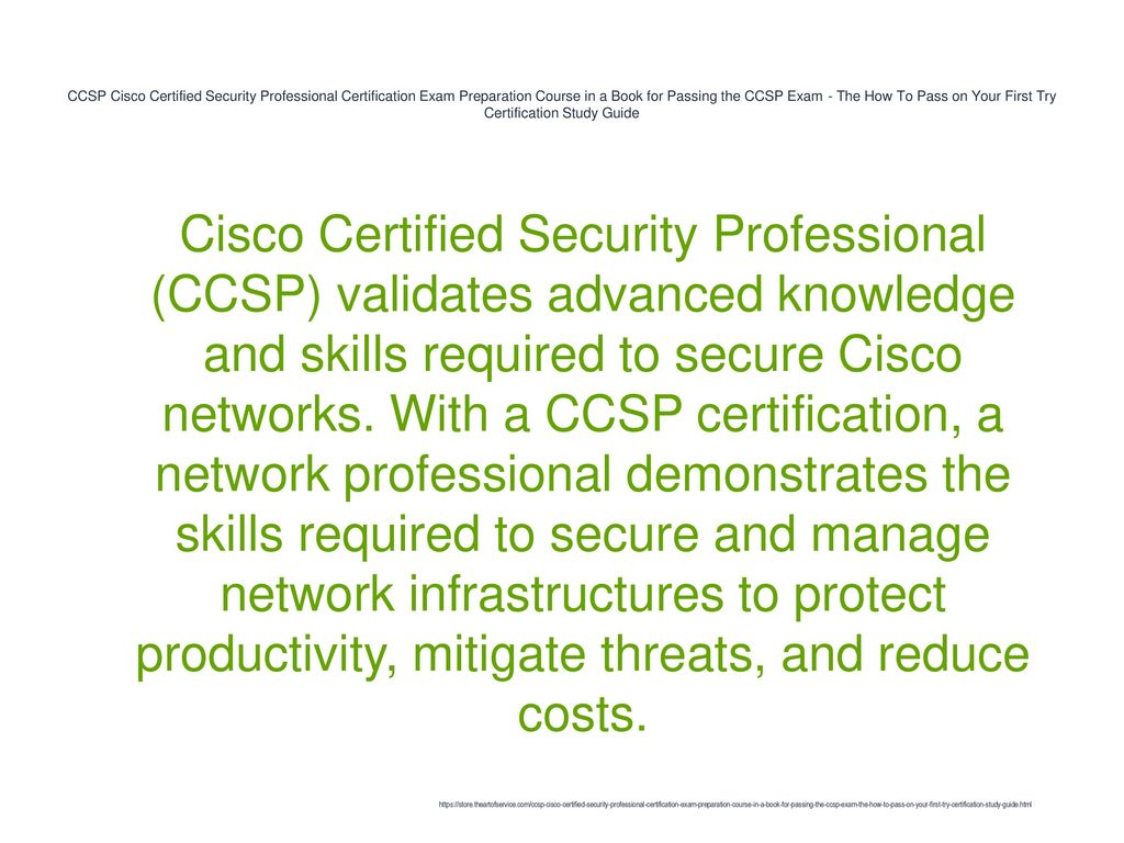 CCSP Cisco Certified Security Professional Certification Exam Preparation  Course in a Book for Passing the CCSP