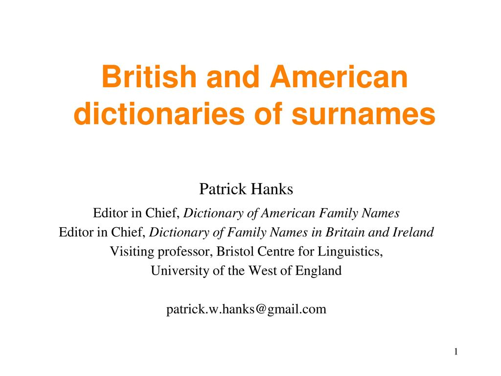 British and American dictionaries of surnames