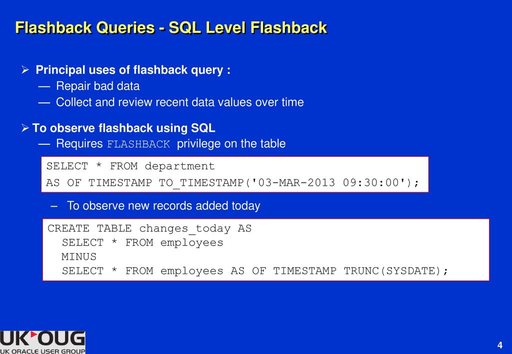 Flashback Techniques for Oracle11g and Oracle12c - ppt download