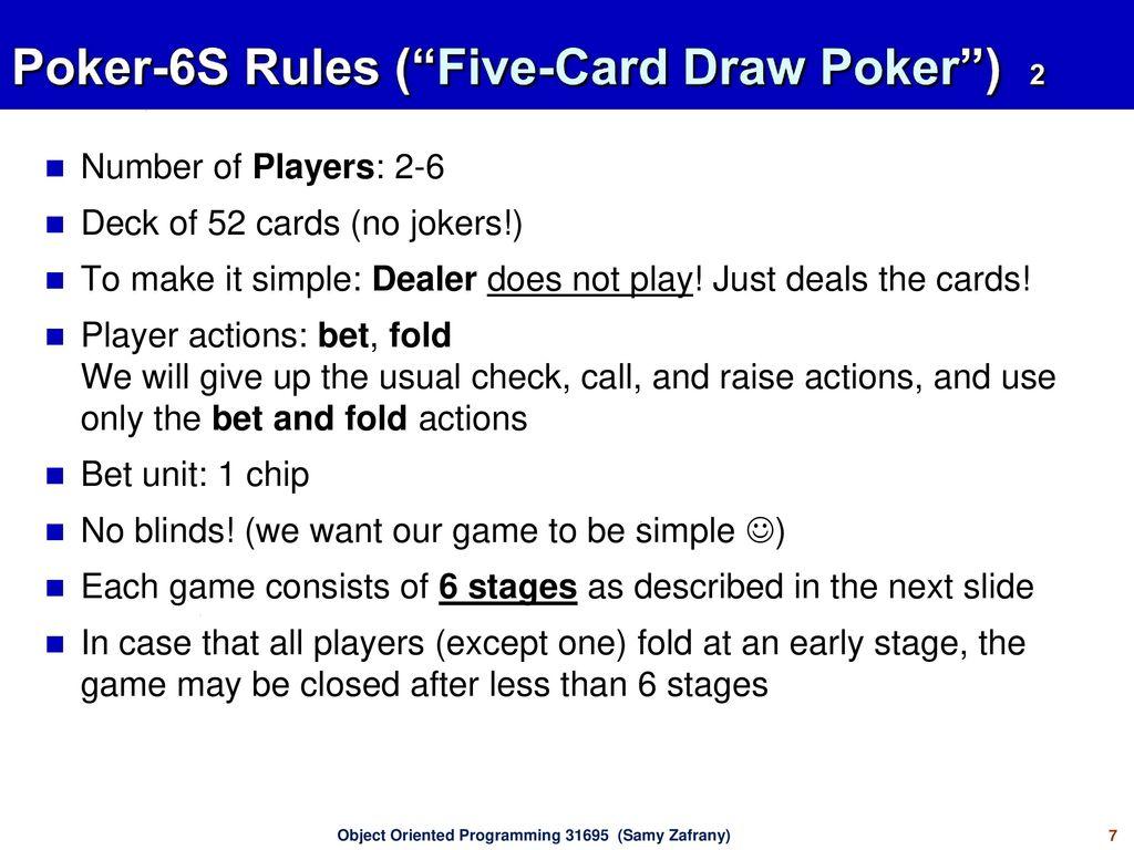 Poker 6s Ooa Ood Oop Ppt Download