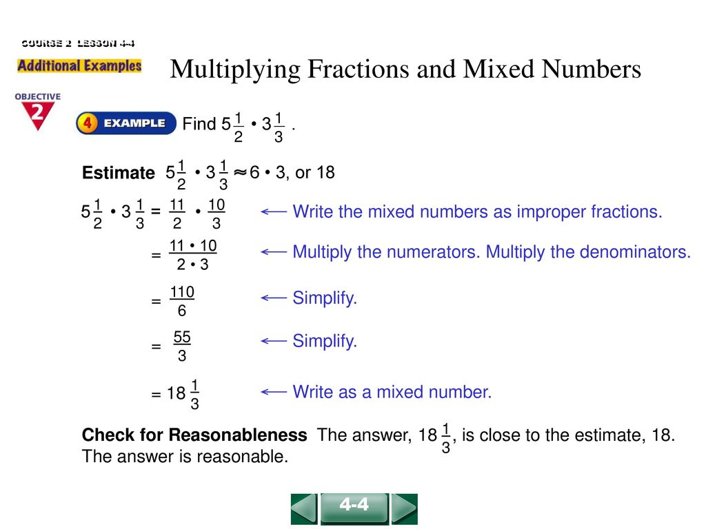 multiplying fractions and mixed numbers - ppt download