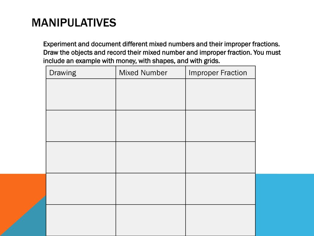 improper fractions and mixed numbers - ppt download