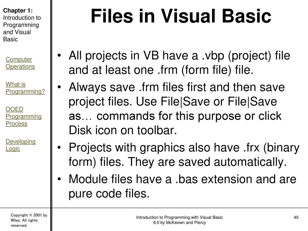 Chapter One: An Introduction to Programming and Visual Basic - ppt