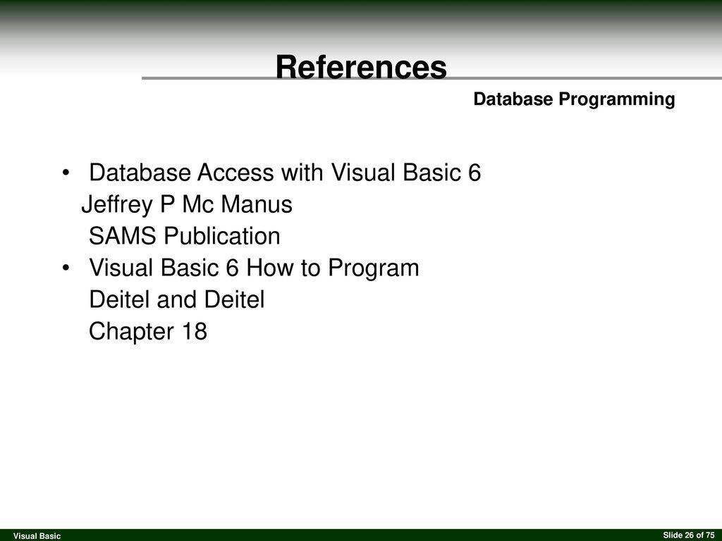 Visual Basic Database Programming  - ppt download