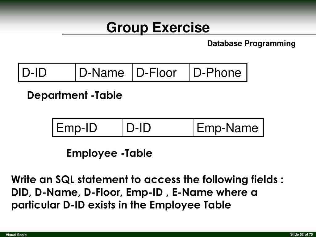 Visual Basic Database Programming  - ppt download